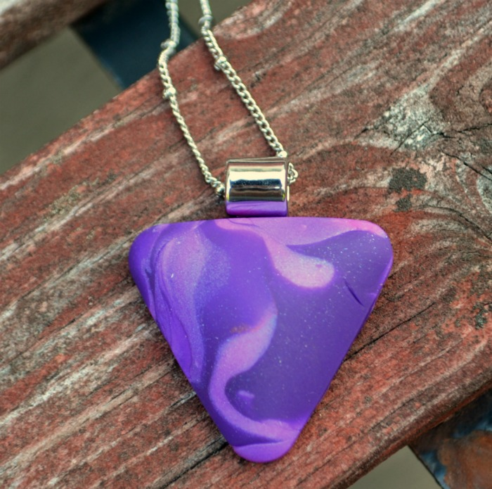 Marbled Sculpey Cabochon Pendant