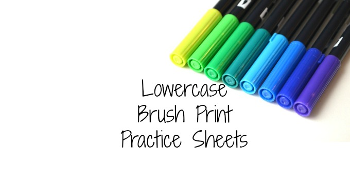 Free Brush Lettering Practice Pages: Lowercase Print