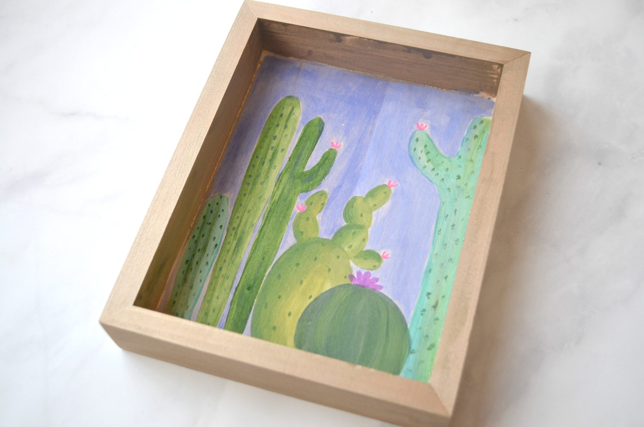 Watercolor Cactus Painting on Wood